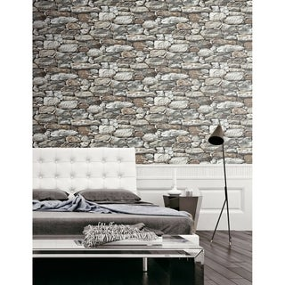 NextWall Stone Wall Peel and Stick Removable Wallpaper - 20.5 in. W x 18 ft. L