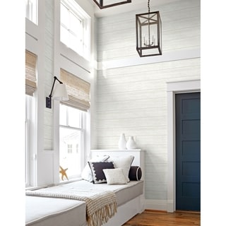 NextWall Off-White Shiplap Peel and Stick Removable Wallpaper - 20.5 in. W x 18 ft. L