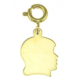 14k Yellow Gold Girl Engravable Silhouette Charm