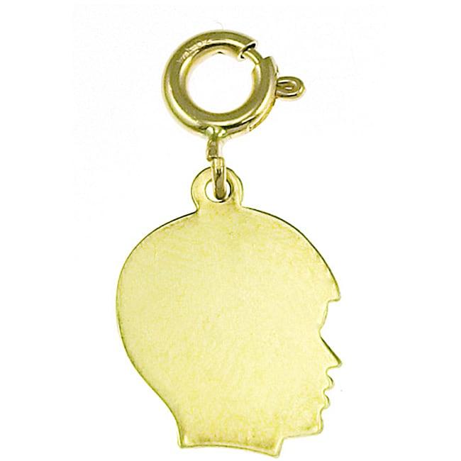 14k Yellow Gold Boy Silhouette Charm
