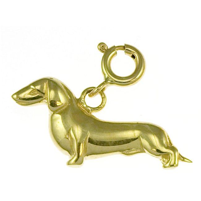 14k Yellow Gold Dachshund Charm