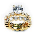 Simon Frank 14k Gold Overlay Cubic Zirconia Bridal Rings Set