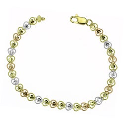 14k Three-tone Gold Heart Bracelet