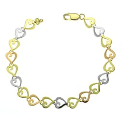 14k Three-tone Gold Cutout Heart Design Bracelet