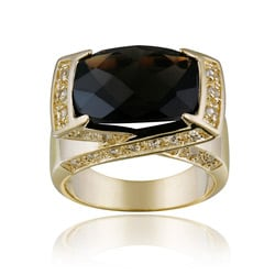 Glitzy Rocks 18k Goldplated Smokey Quartz and White Topaz Ring
