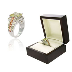 Glitzy Rocks Two-tone Sterling Silver and Lime Quartz Ring