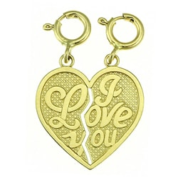 14k Yellow Gold 'I Love You' Breakable Charm
