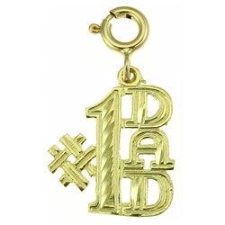 14k Yellow Gold '#1 Dad' Jewelry Charm