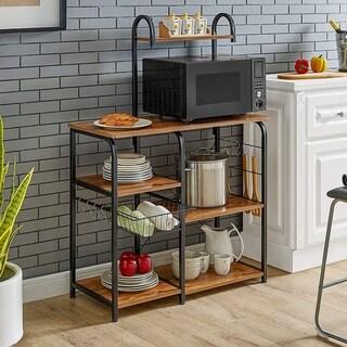 "35.5"" Kitchen Baker's Rack Utility Storage Shelf Microwave Stand Workstation with 10 Hooks(4-Tier)"