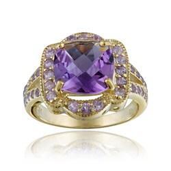 Glitzy Rocks 18k Gold over Sterling Silver Genuine Amethyst Ring