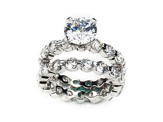 Simon Frank 14k White Gold Overlay Diamoness Bridal Rings Set