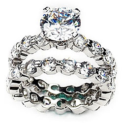 Simon Frank 14k White Gold Overlay Diamoness Bridal Rings Set