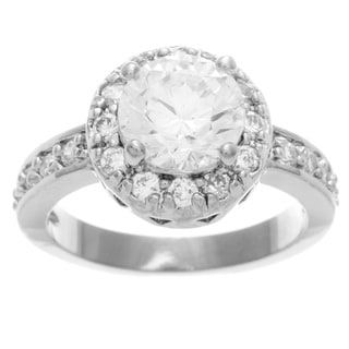 Simon Frank 2.51 Equivalent Diamond Weight 14k White Gold Overlay Halo Set Ring
