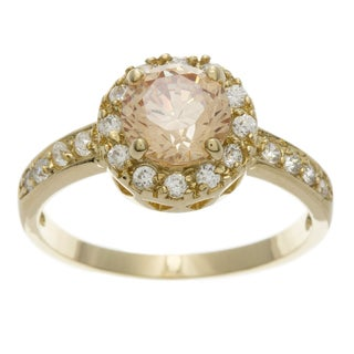 Simon Frank 2.51 Equivalent Diamond Weight 14k Yellow Gold Overlay Halo-set Engagement Ring