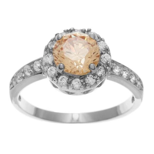 Simon Frank 2.51 Equivalent Diamond Weight 14k White Gold Overlay Champagne Halo Set Ring