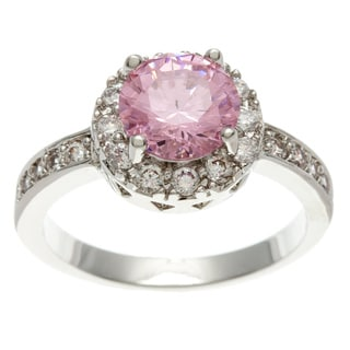 Simon Frank 14k White Gold 2.51 Equivalent Diamond Weight Overlay Pink Halo Set Ring