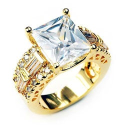 Simon Frank 14k Gold Overlay Emerald-cut Solitaire CZ Ring