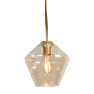 Antique Rose Gold Amber Hanging Pendant with Glass Shade, Brass Rod