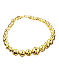 Sterling Essentials 14K Gold over Sterling Silver 7-inch Graduated Bead Bracelet