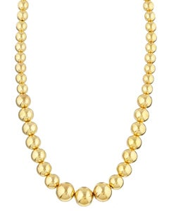 Sterling Essentials 14K Gold over Silver 18-inch Graduated Bead Necklace