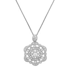 Icz Stonez Sterling Silver CZ Flower Medallion Necklace