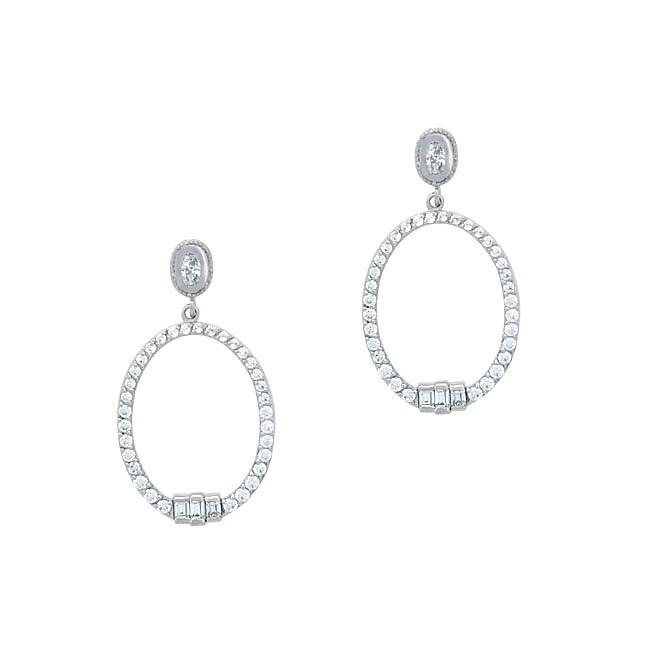 Icz Stonez Sterling Silver CZ Oval Dangle Earrings