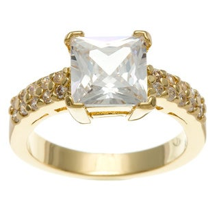 Simon Frank 3.41 Equivalent Diamond Weight 14k Yellow Gold Overlay White Emerald-cut Ring