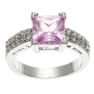 Simon Frank 3.41 Equivalent Diamond Weight 14K WG Overlay Pink Princess-cut CZ Center Stone Ring