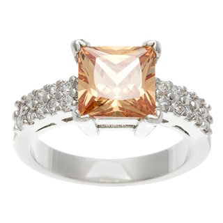 Simon Frank 3.41 Equivalent Diamond Weight 14k White Gold Overlay Champagne Emerald Cut CZ Ring