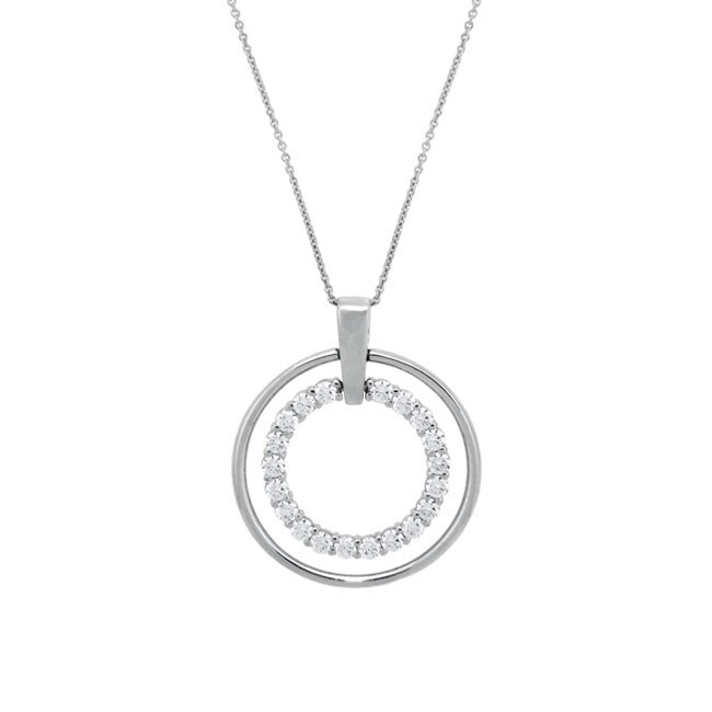 Icz Stonez Sterling Silver CZ Double Circle Necklace