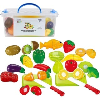 IQ Toys Play Food Set 35 Piece Cutting Fruits and Vegetables Playset