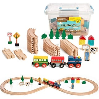 On Track USA Figure 8 Wooden Train Set, 35 Piece Deluxe Set