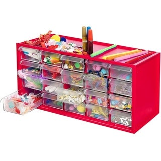 Kraftic Arts & Crafts Supplies Kit Complete with 20 Filled Drawers - Red - 5''X7.5''X6''