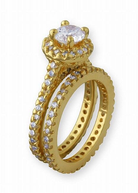 Simon Frank 14k Gold Overlay Super Solitaire CZ Bridal Ring Set