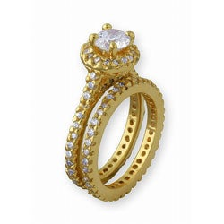 Simon Frank 14k Gold Overlay Super Solitaire CZ Bridal Ring Set