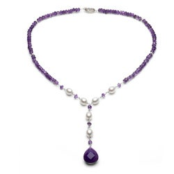 DaVonna Silver White FW Pearl and Purple Amythest Charm Necklace (7.5-8 mm)