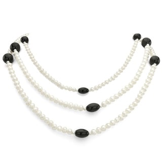 DaVonna Silver White FW Pearl with Black Onyx and Agate 3-row Necklace (4-5 mm)