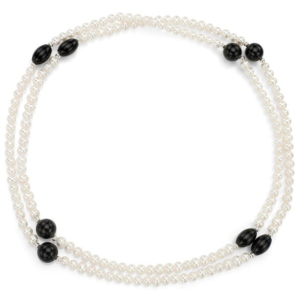 DaVonna Silver FW Pearl with Agate and Onyx 36-inch Endless Necklace (5 mm)