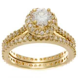 Simon Frank 14k Yellow Gold Overlay Diamoness Bridal Ring Set