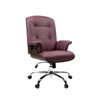 BIRCH Mid-Century Modern Home Office Chair, Comfortable Thick Cushion and Adjustable Height with Rolling Base, Burgundy/Wood