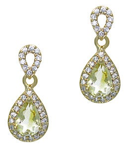 Glitzy Rocks 18k Gold Overlay Lime Quartz and CZ Teardrop Earrings