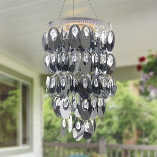 """Silver Oval Chandelier, Battery Powered - 14.0"""" x 14.0"""" x 32.5"""""""