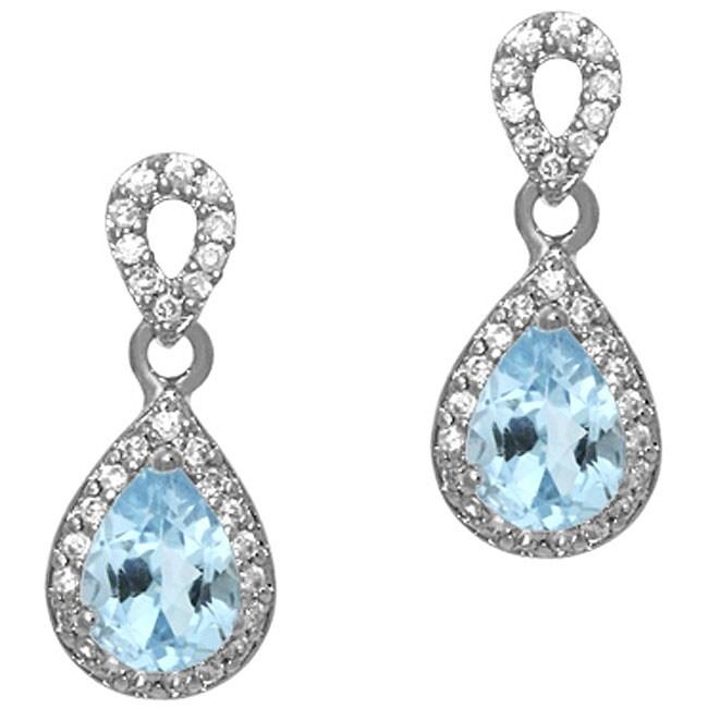 Glitzy Rocks Sterling Silver Blue Topaz and CZ Teardrop Earrings