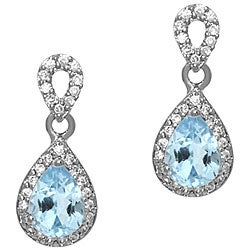 Glitzy Rocks Sterling Silver Blue Topaz and CZ Teardrop Earrings