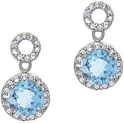 Glitzy Rocks Sterling Silver Blue Topaz and CZ Circle Earrings