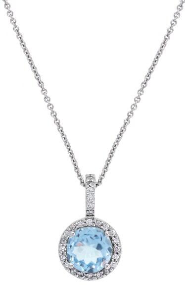 Glitzy Rocks Sterling Silver Blue Topaz and CZ Necklace