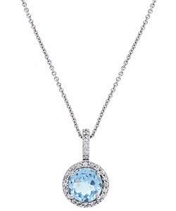 Glitzy Rocks Sterling Silver Blue Topaz and CZ Necklace