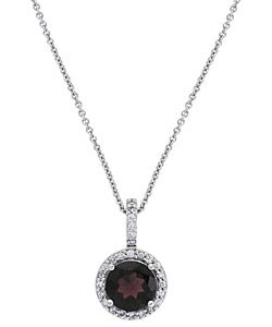 Glitzy Rocks Sterling Silver Garnet and Cubic Zirconia Necklace