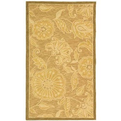Hand-hooked Eden Abrashed Beige/ Light Brown Wool Rug (2'9 x 4'9)