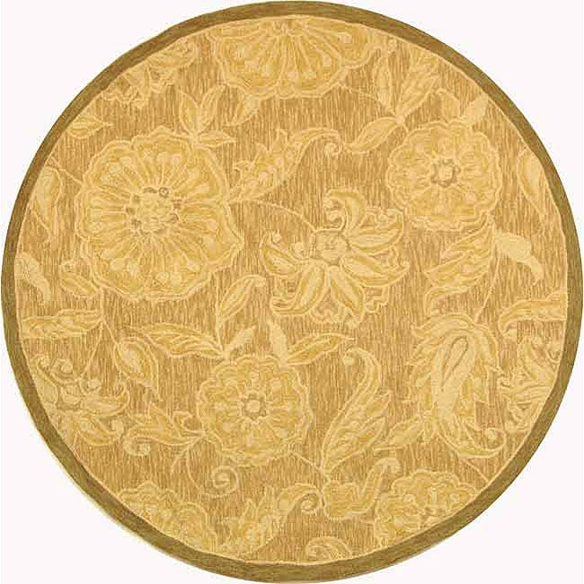 Safavieh Hand-hooked Eden Abrashed Beige/ Light Brown Wool Rug (4' Round)